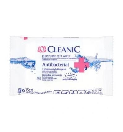 CLEANIC Chusteczki z płynem Antybakteryjnym 15 szt